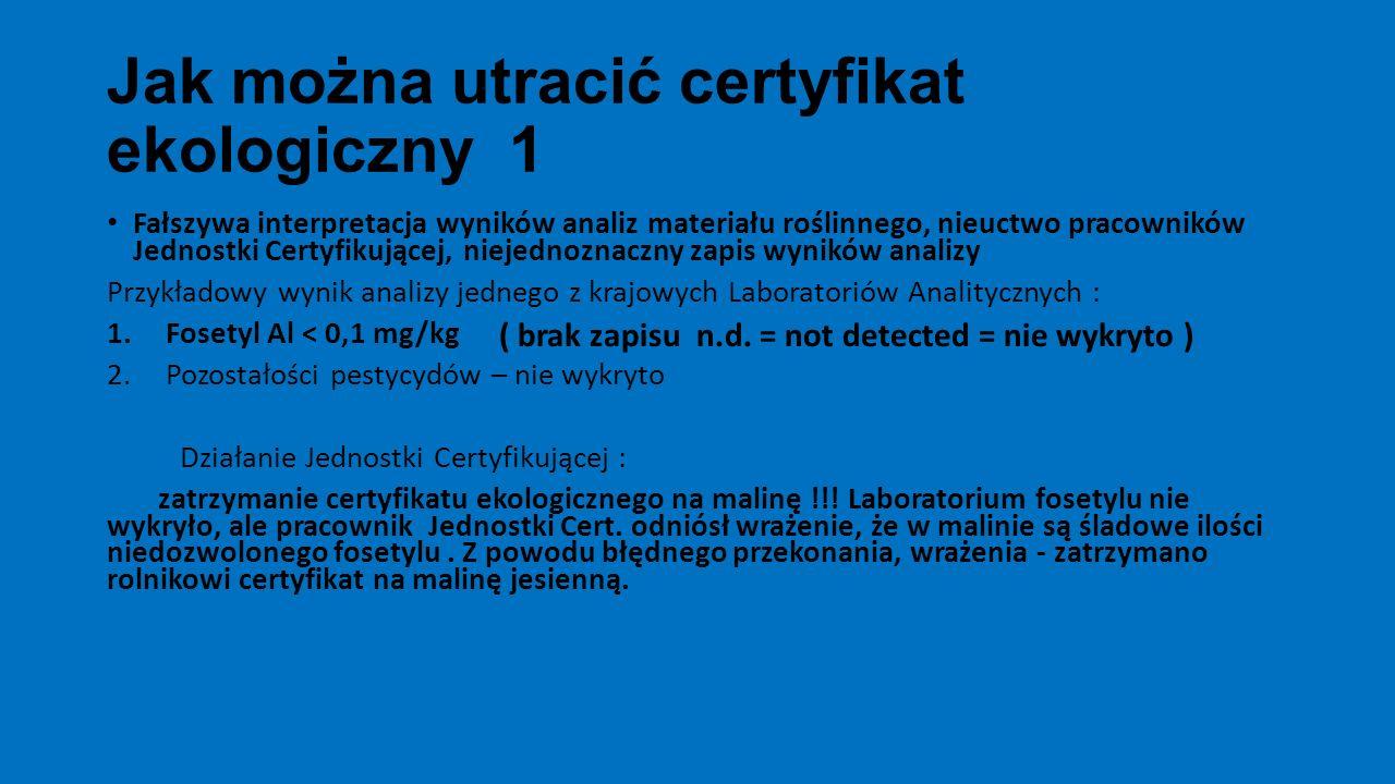 Jak można utracić certyfikat ekologiczny 1