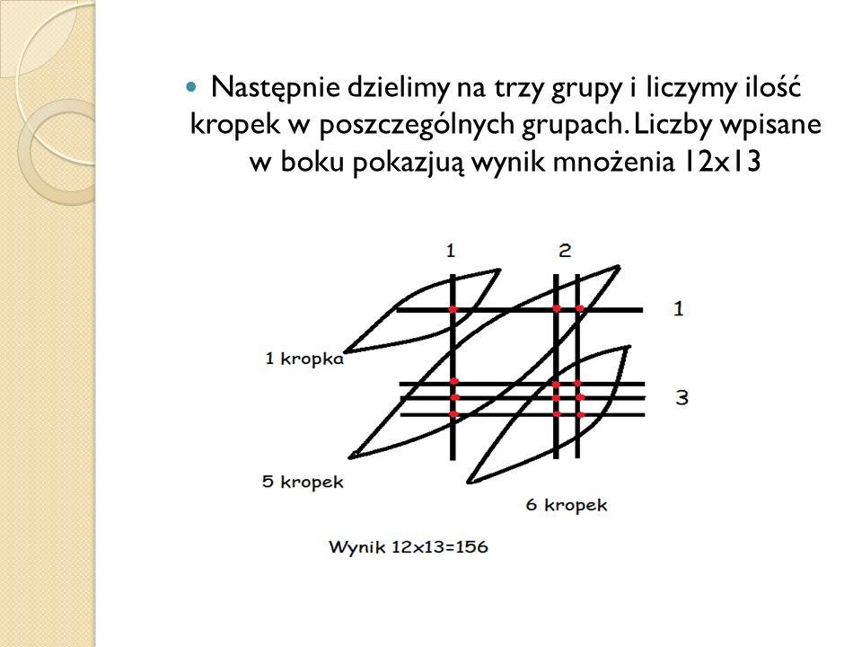 Następnie dzielimy na trzy grupy i liczymy ilość kropek w poszczególnych grupach.