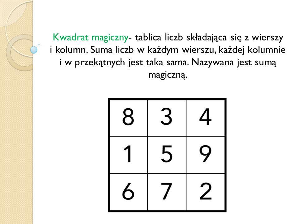 Kwadrat magiczny- tablica liczb składająca się z wierszy i kolumn