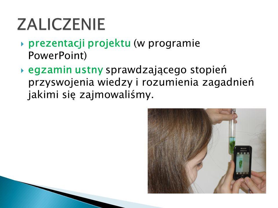 ZALICZENIE prezentacji projektu (w programie PowerPoint)