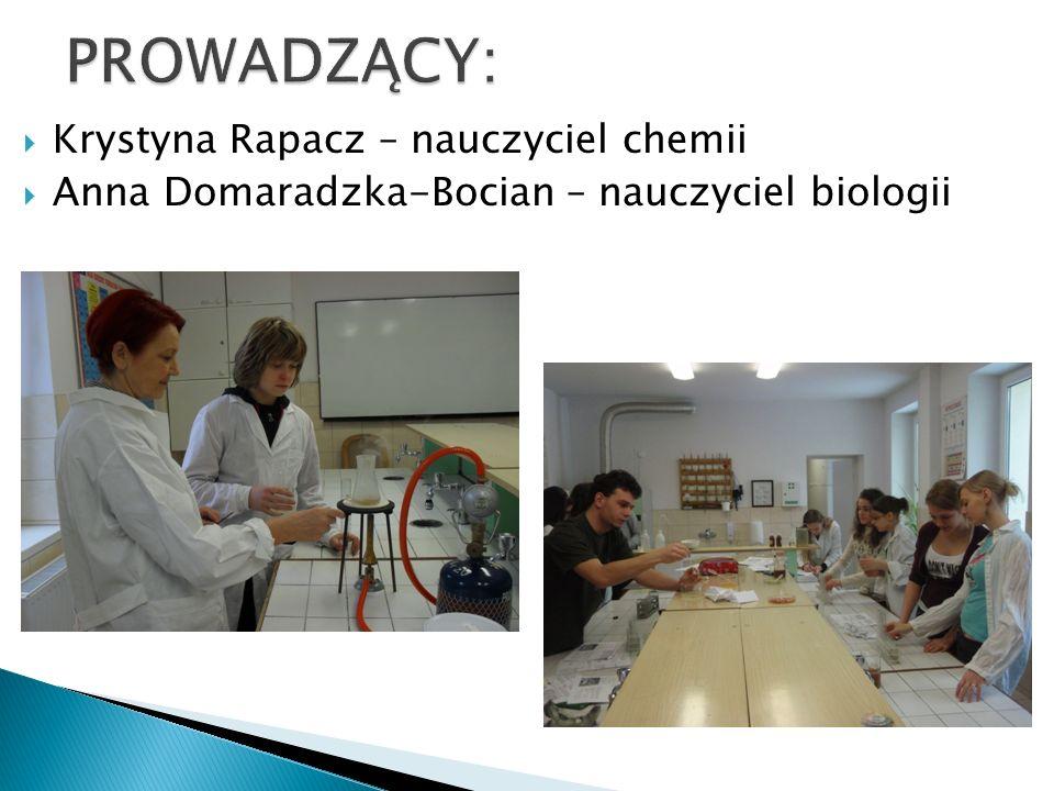 PROWADZĄCY: Krystyna Rapacz – nauczyciel chemii