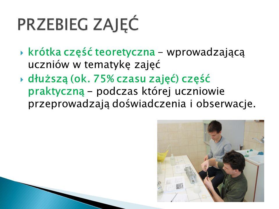 PRZEBIEG ZAJĘĆ krótka część teoretyczna - wprowadzającą uczniów w tematykę zajęć.