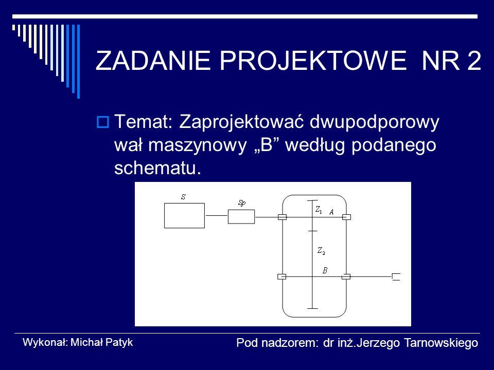 """ZADANIE PROJEKTOWE NR 2 Temat: Zaprojektować dwupodporowy wał maszynowy """"B według podanego schematu."""