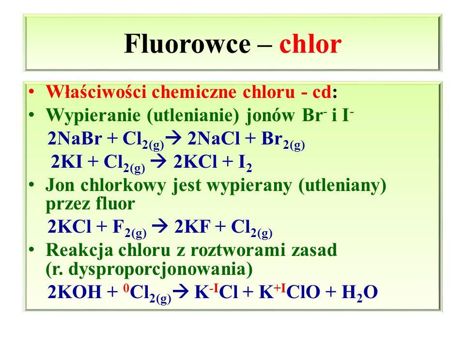 Fluorowce – chlor Właściwości chemiczne chloru - cd: