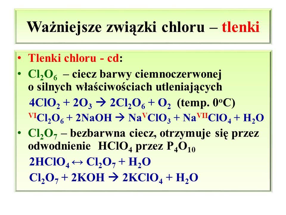 Ważniejsze związki chloru – tlenki