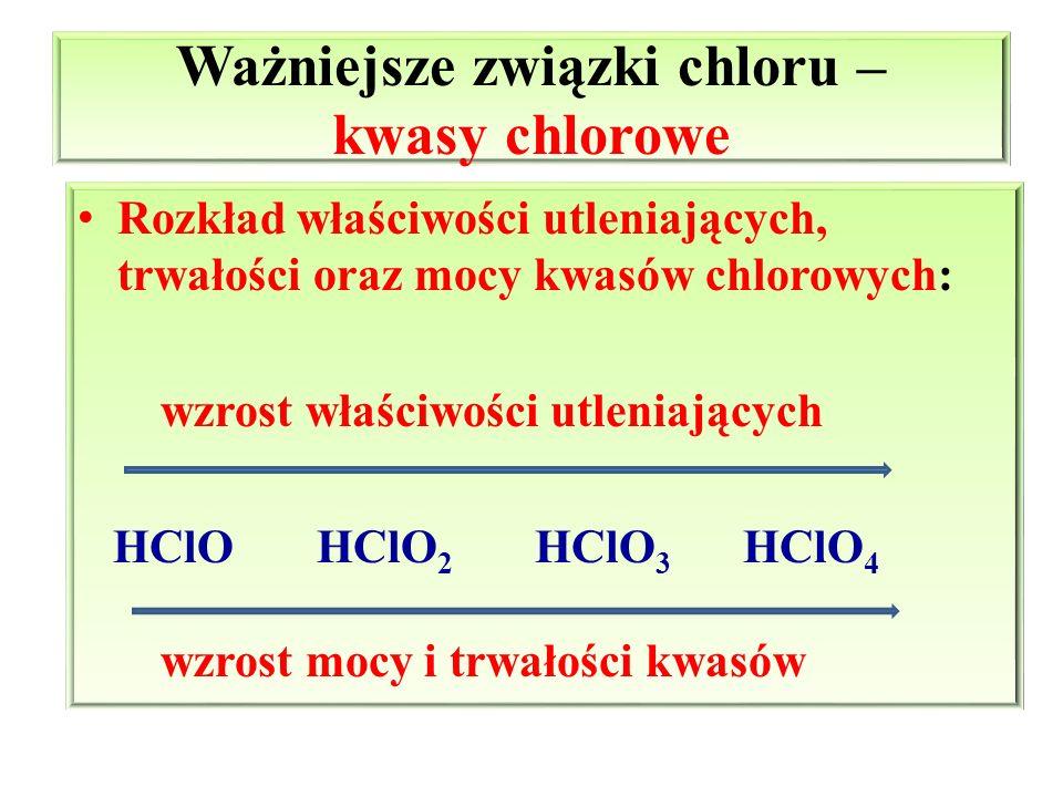 Ważniejsze związki chloru – kwasy chlorowe