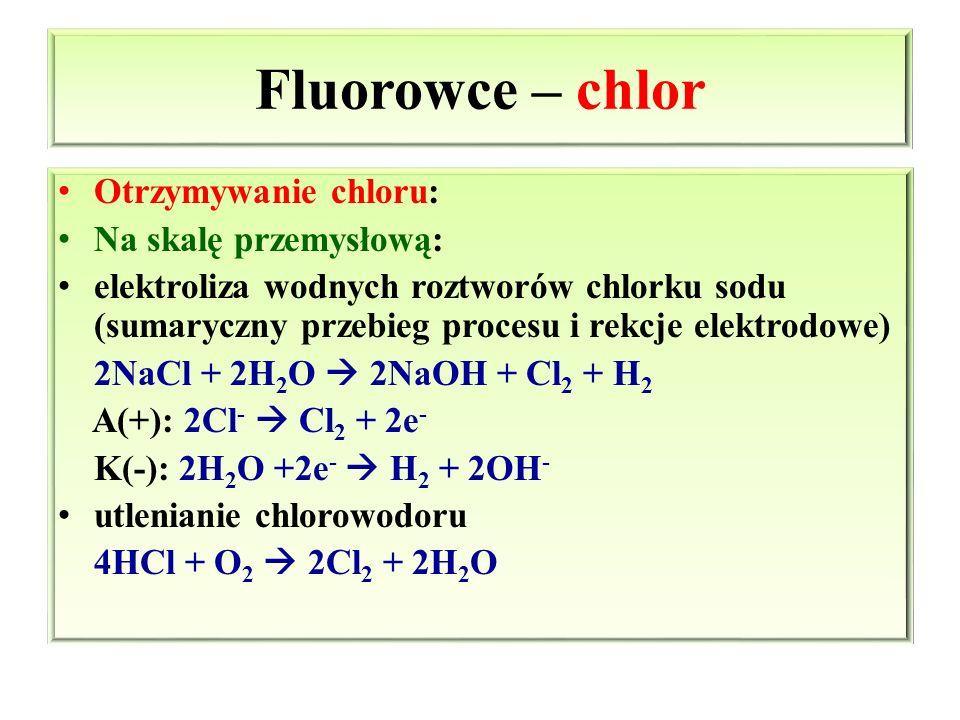 Fluorowce – chlor Otrzymywanie chloru: Na skalę przemysłową: