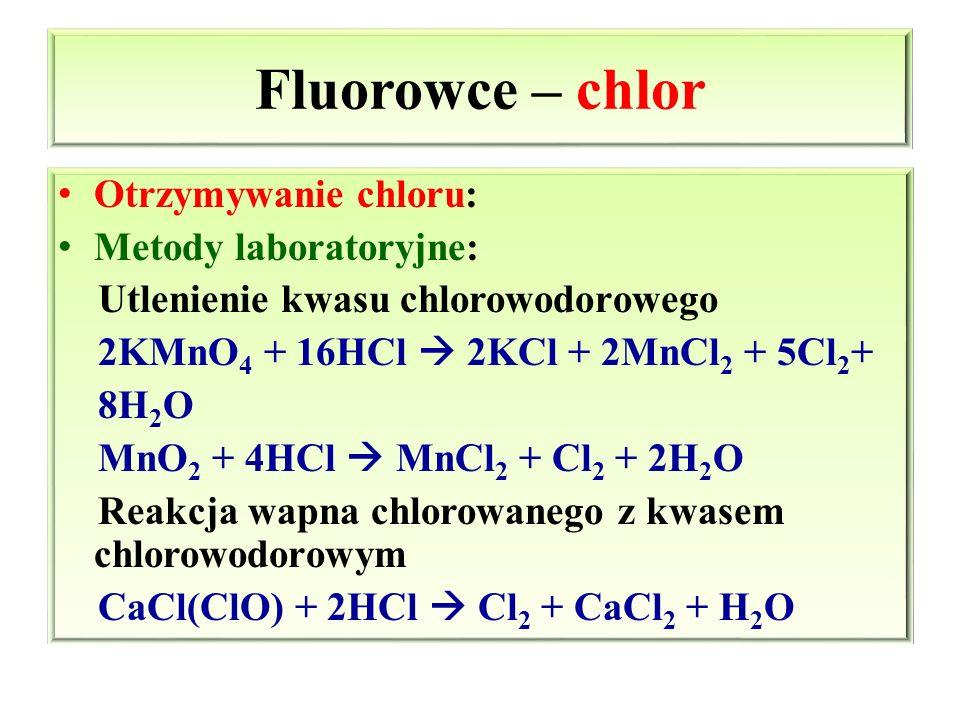 Fluorowce – chlor Otrzymywanie chloru: Metody laboratoryjne: