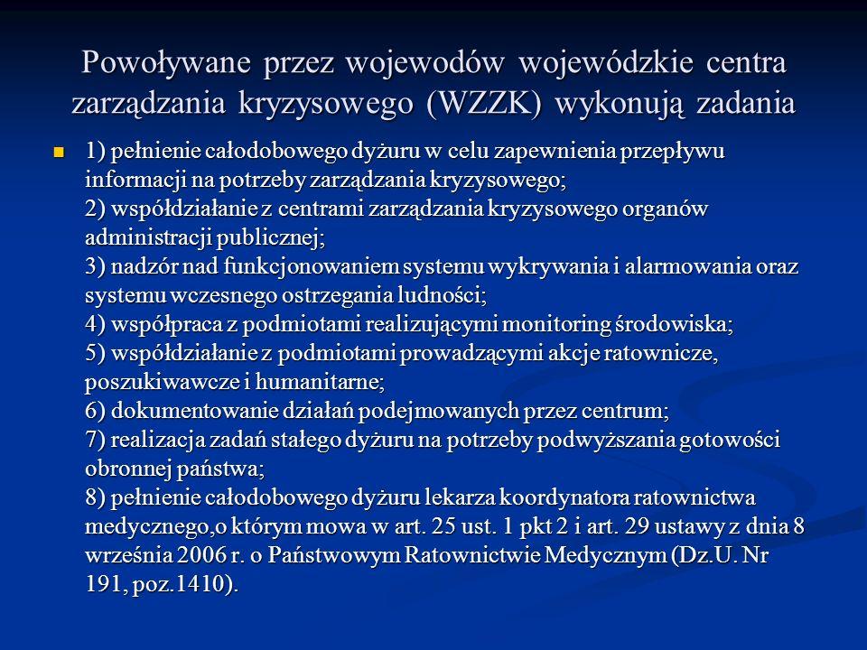Powoływane przez wojewodów wojewódzkie centra zarządzania kryzysowego (WZZK) wykonują zadania