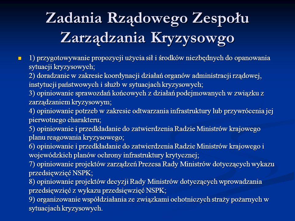 Zadania Rządowego Zespołu Zarządzania Kryzysowgo