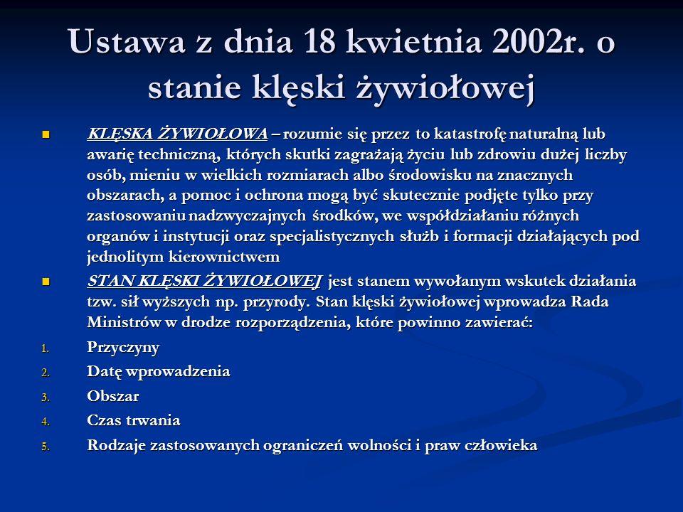 Ustawa z dnia 18 kwietnia 2002r. o stanie klęski żywiołowej