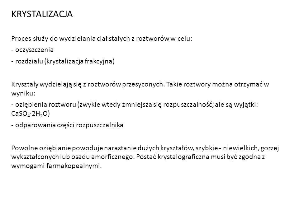 KRYSTALIZACJA Proces służy do wydzielania ciał stałych z roztworów w celu: - oczyszczenia. - rozdziału (krystalizacja frakcyjna)