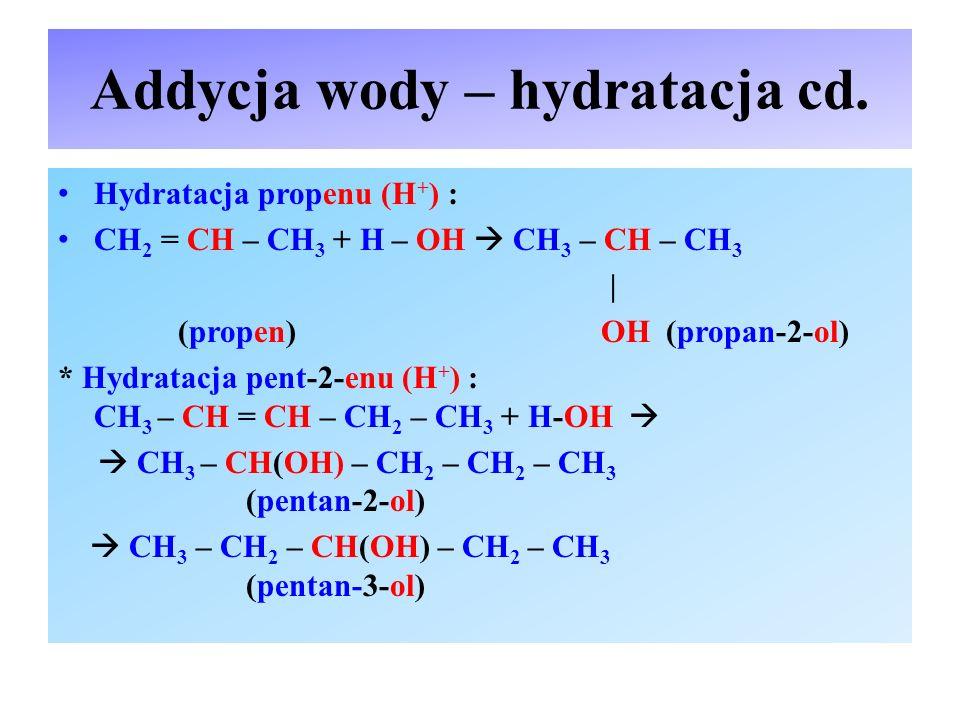 Addycja wody – hydratacja cd.
