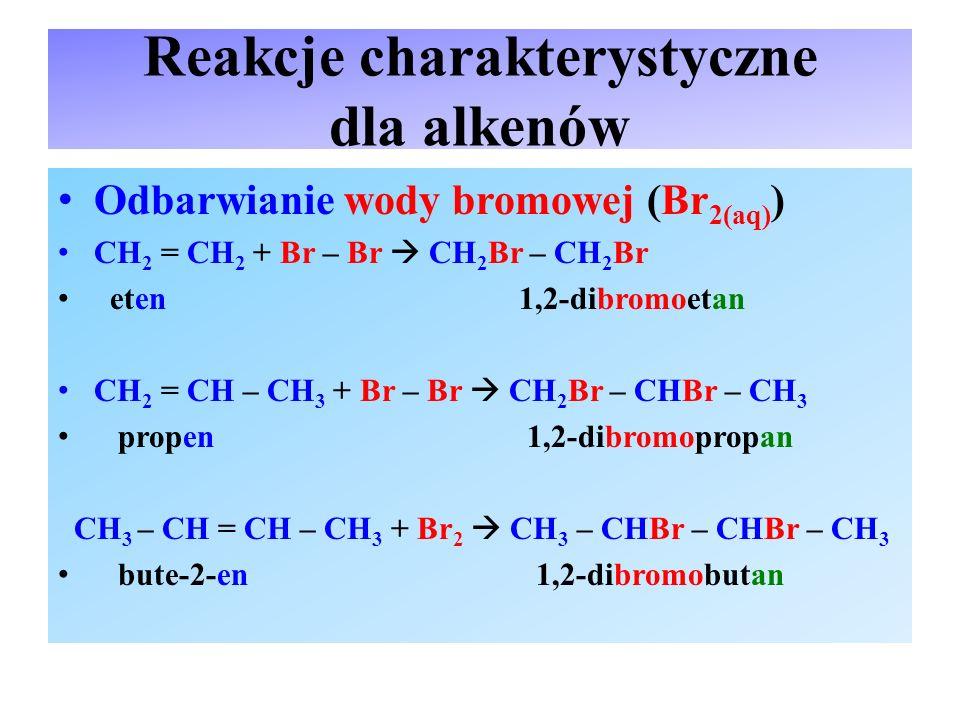 Reakcje charakterystyczne dla alkenów