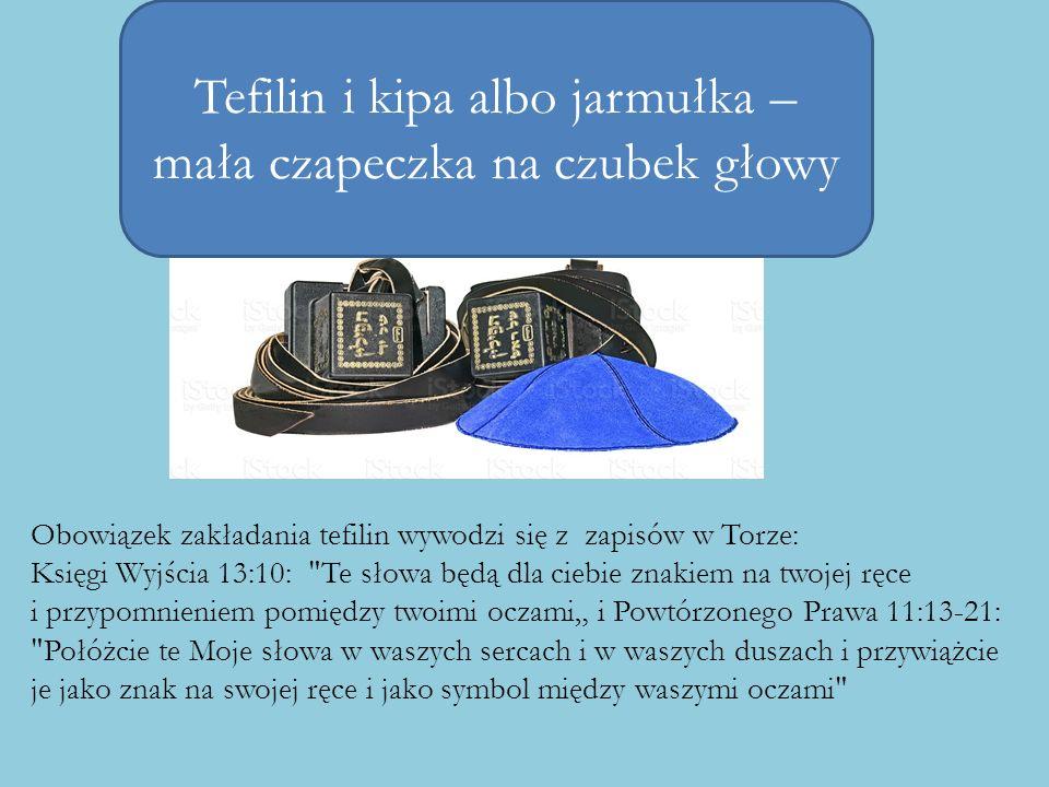 Tefilin i kipa albo jarmułka – mała czapeczka na czubek głowy