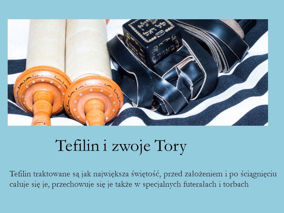 Tefilin i zwoje Tory Tefilin traktowane są jak największa świętość, przed założeniem i po ściągnięciu.