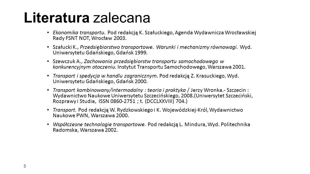 Literatura zalecana Ekonomika transportu. Pod redakcją K. Szałuckiego, Agenda Wydawnicza Wrocławskiej Rady FSNT NOT, Wrocław 2003.