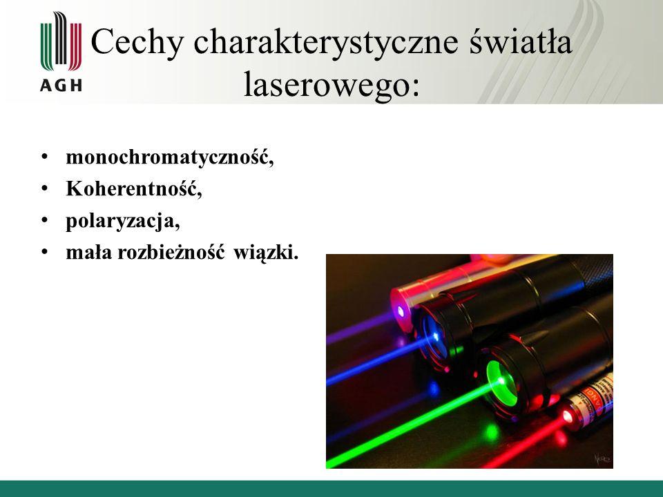 Cechy charakterystyczne światła laserowego: