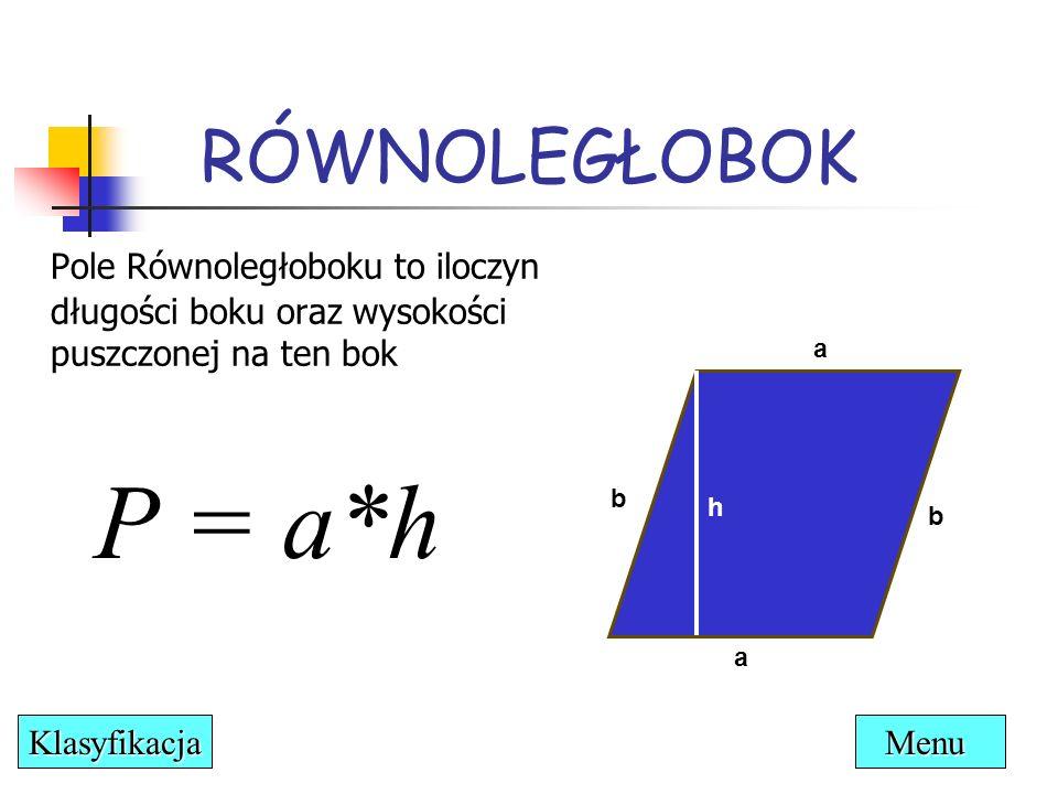 RÓWNOLEGŁOBOK Pole Równoległoboku to iloczyn długości boku oraz wysokości puszczonej na ten bok. a.