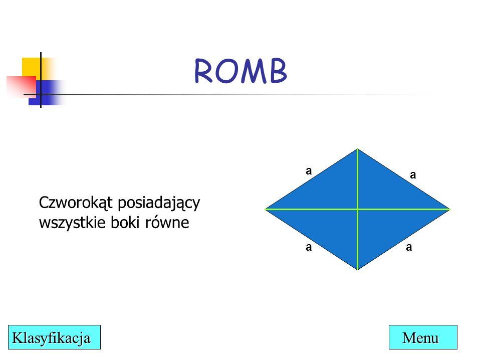 ROMB Czworokąt posiadający wszystkie boki równe Klasyfikacja Menu a a