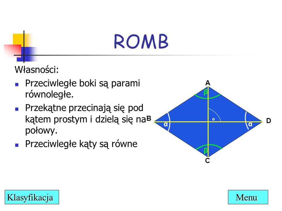 ROMB Własności: Przeciwległe boki są parami równoległe.