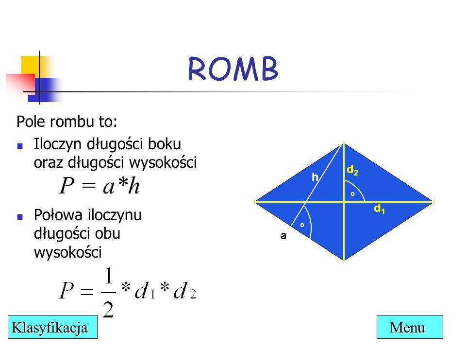 ROMB P = a*h Pole rombu to: