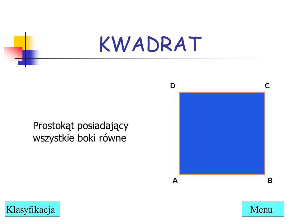 KWADRAT Prostokąt posiadający wszystkie boki równe Klasyfikacja Menu D