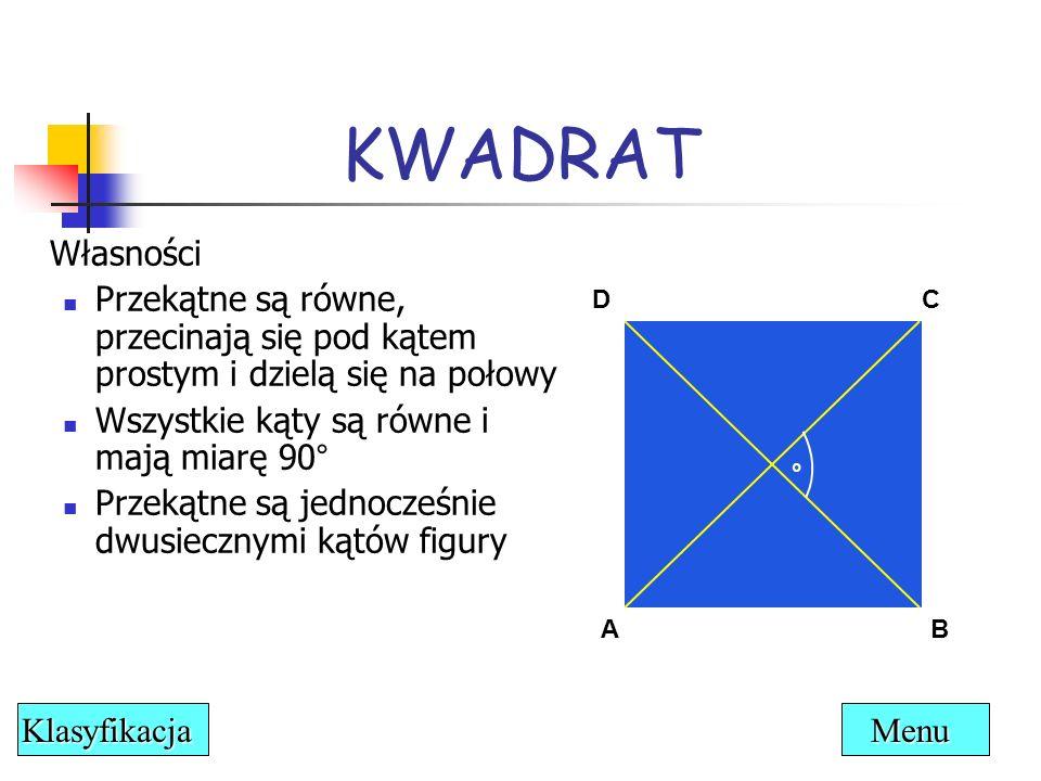 KWADRAT Własności. Przekątne są równe, przecinają się pod kątem prostym i dzielą się na połowy. Wszystkie kąty są równe i mają miarę 90°
