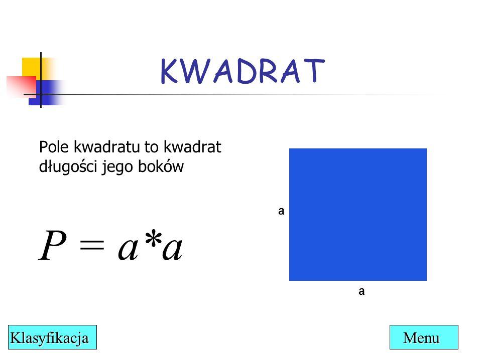 P = a*a KWADRAT Pole kwadratu to kwadrat długości jego boków