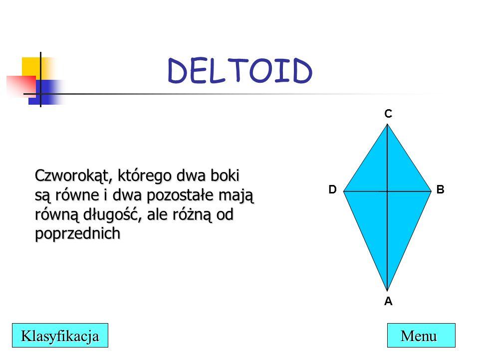 DELTOID Czworokąt, którego dwa boki są równe i dwa pozostałe mają równą długość, ale różną od poprzednich.