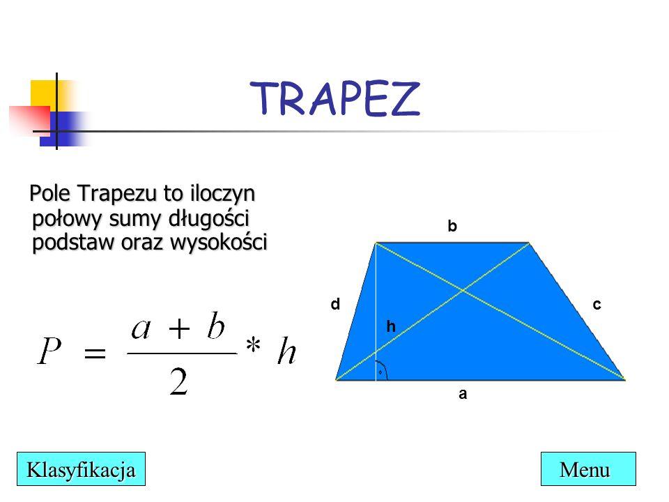 TRAPEZ Pole Trapezu to iloczyn połowy sumy długości podstaw oraz wysokości. b. d. c. h. a. Klasyfikacja.