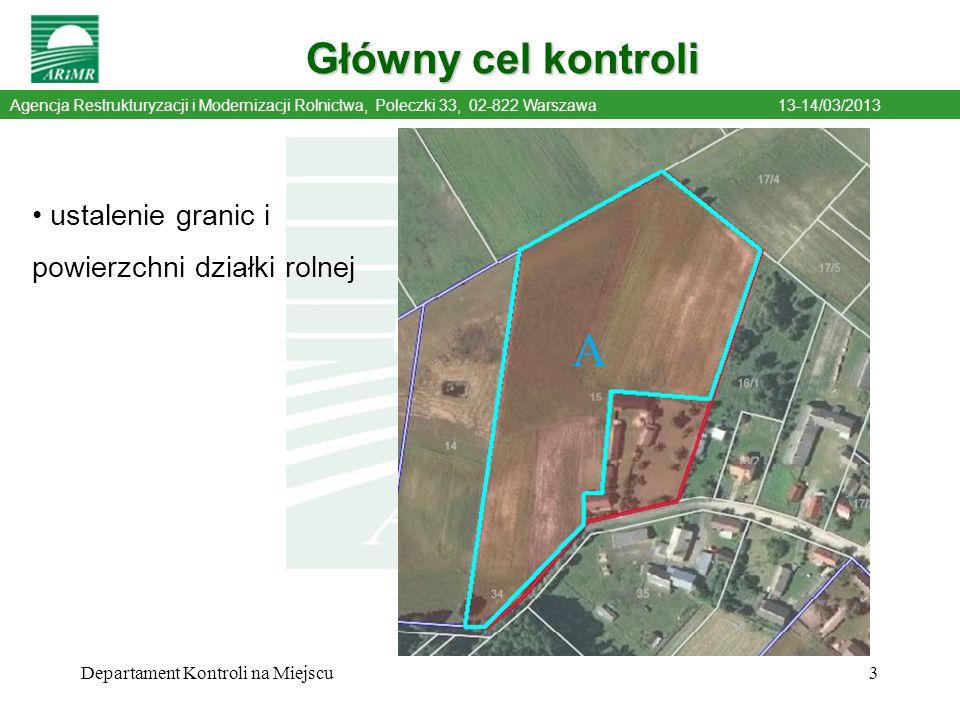 A Główny cel kontroli ustalenie granic i powierzchni działki rolnej