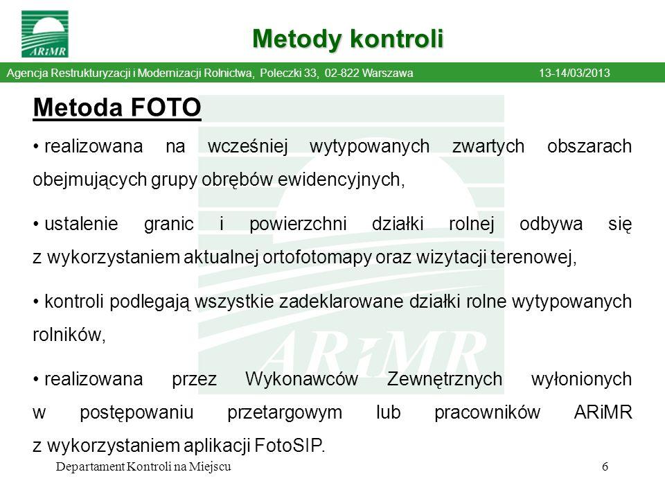 Metody kontroli Metoda FOTO