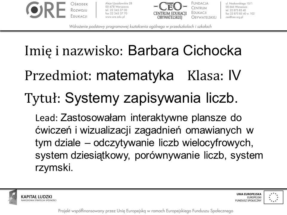 Imię i nazwisko: Barbara Cichocka
