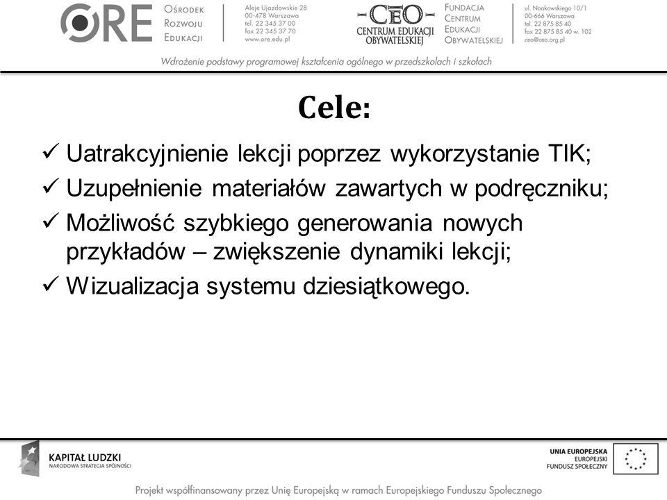 Cele: Uatrakcyjnienie lekcji poprzez wykorzystanie TIK;