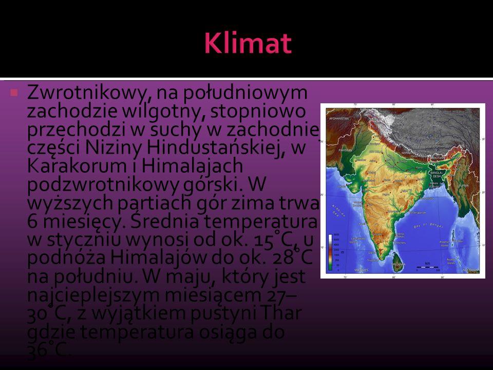 Zwrotnikowy, na południowym zachodzie wilgotny, stopniowo przechodzi w suchy w zachodniej części Niziny Hindustańskiej, w Karakorum i Himalajach podzwrotnikowy górski.