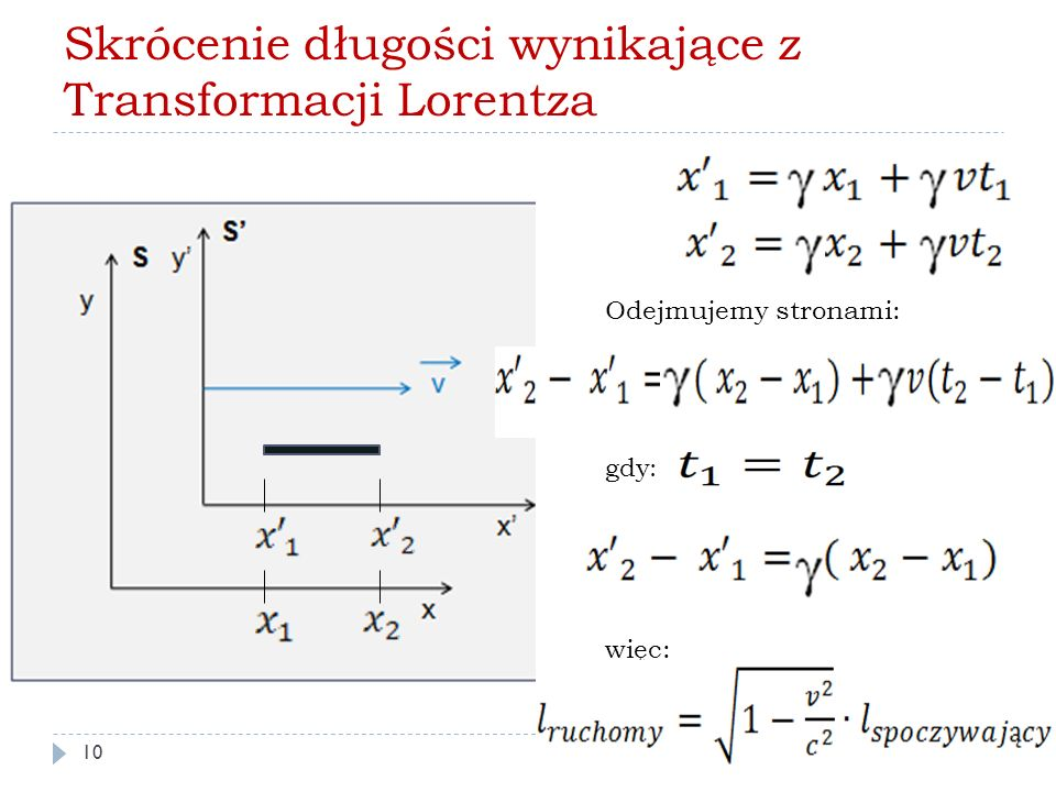 Skrócenie długości wynikające z Transformacji Lorentza