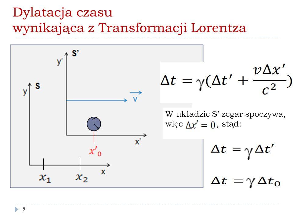 Dylatacja czasu wynikająca z Transformacji Lorentza