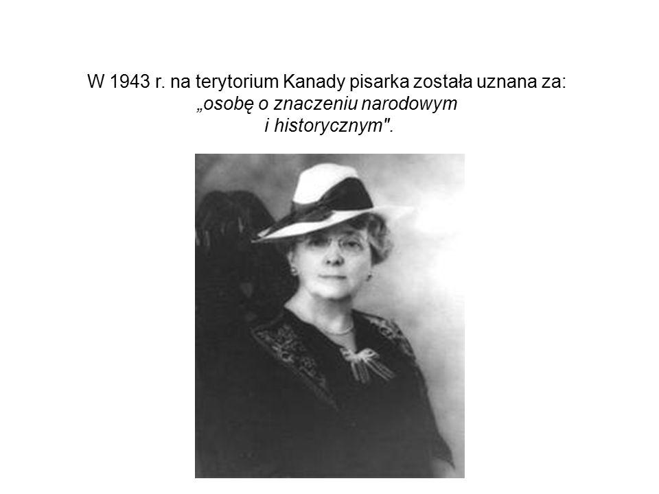 W 1943 r. na terytorium Kanady pisarka została uznana za: