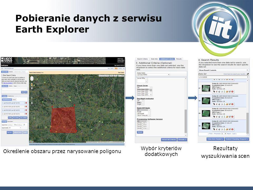 Pobieranie danych z serwisu Earth Explorer