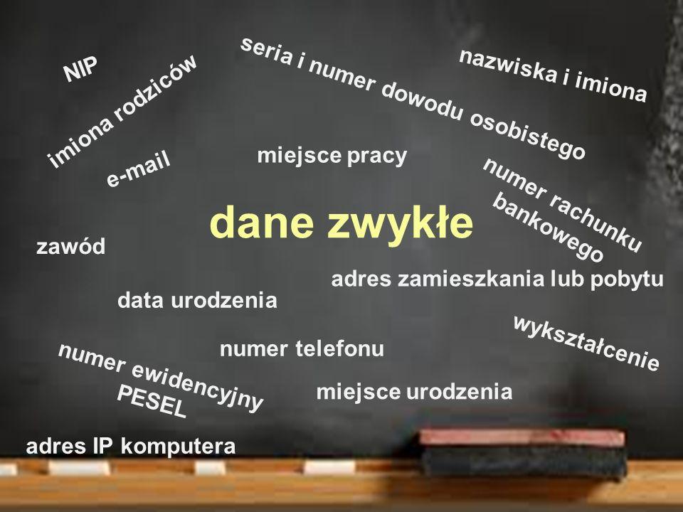 dane zwykłe NIP nazwiska i imiona seria i numer dowodu osobistego