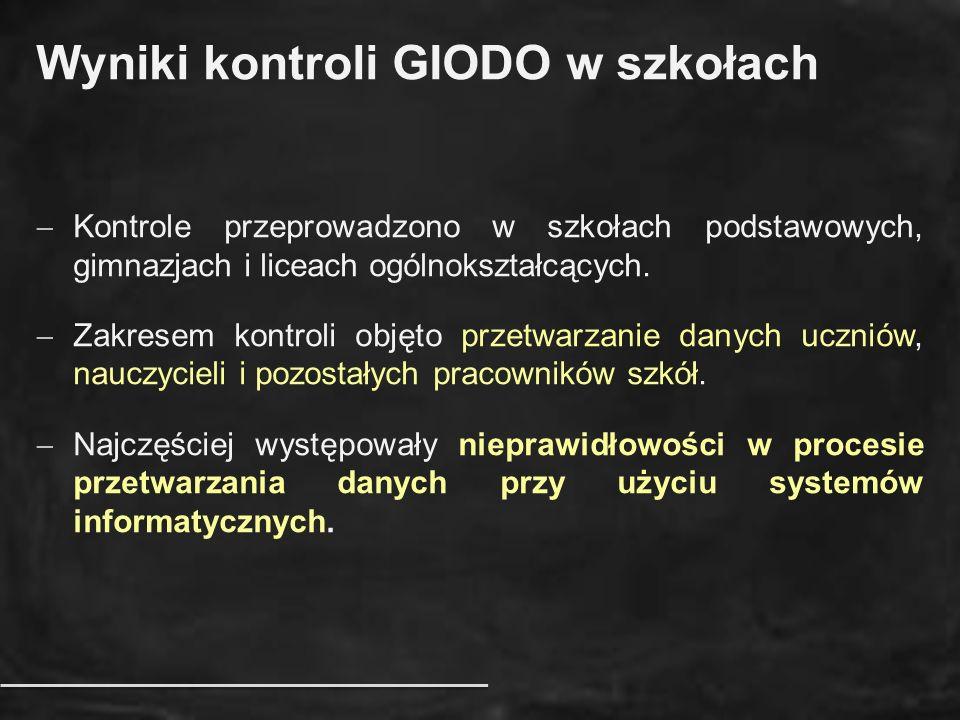 Wyniki kontroli GIODO w szkołach