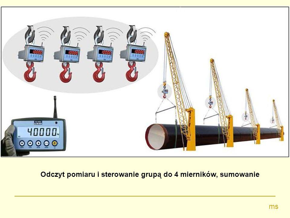 Odczyt pomiaru i sterowanie grupą do 4 mierników, sumowanie