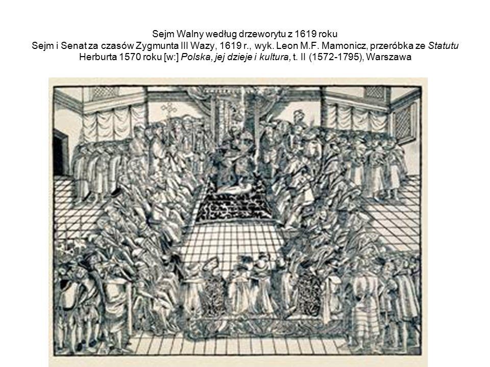 Sejm Walny według drzeworytu z 1619 roku Sejm i Senat za czasów Zygmunta III Wazy, 1619 r., wyk.