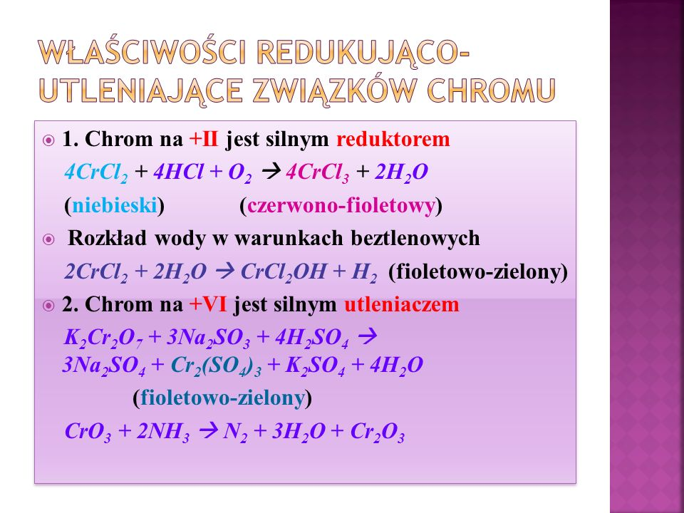 Właściwości redukująco-utleniające związków chromu