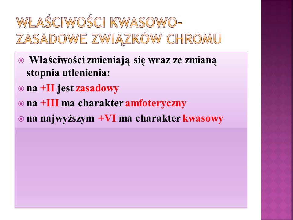 Właściwości kwasowo-zasadowe związków chromu