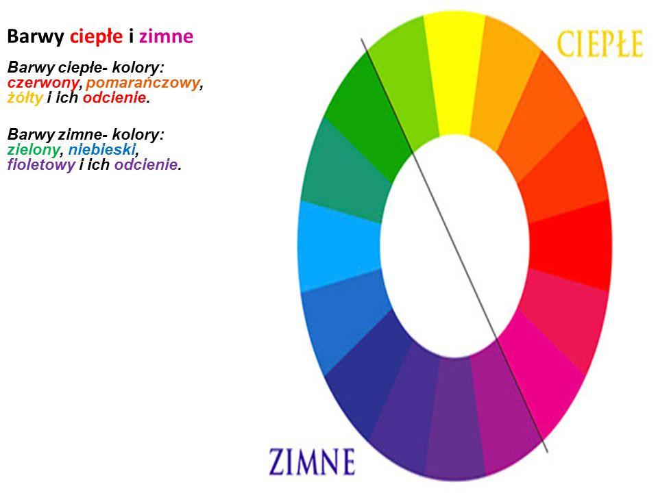 Barwy ciepłe i zimne Barwy ciepłe- kolory: czerwony, pomarańczowy, żółty i ich odcienie.