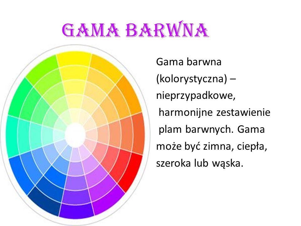 Gama barwna Gama barwna (kolorystyczna) – nieprzypadkowe, harmonijne zestawienie plam barwnych.