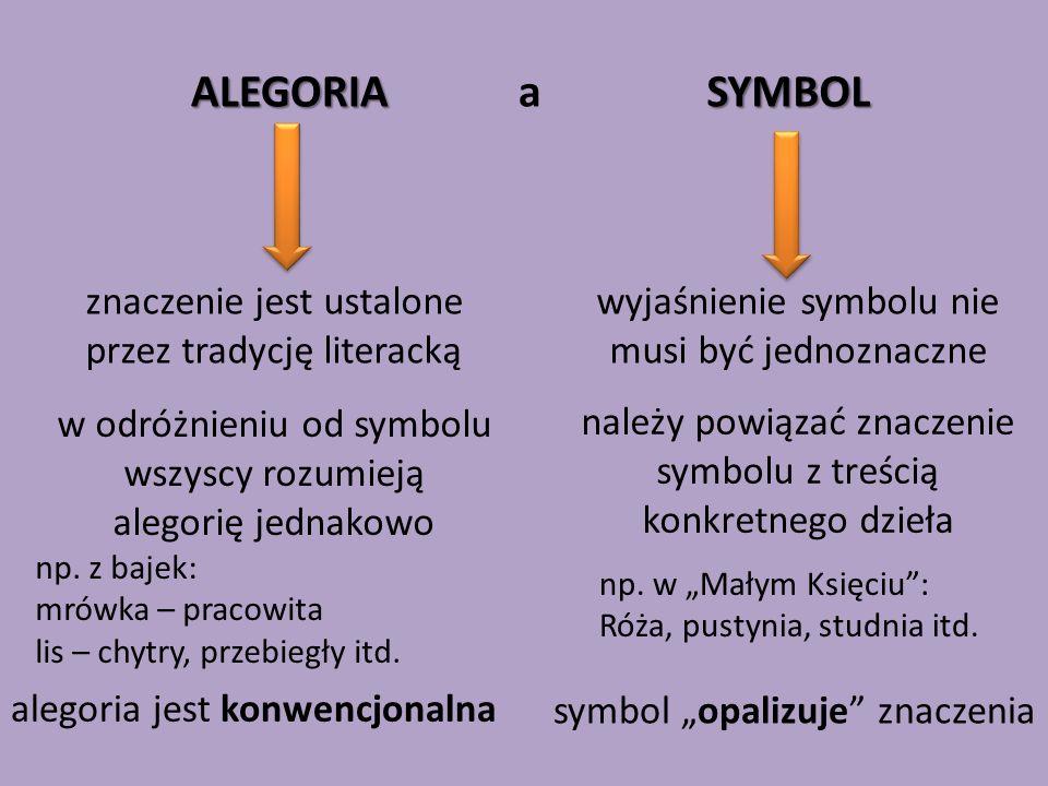 ALEGORIA a SYMBOL znaczenie jest ustalone przez tradycję literacką