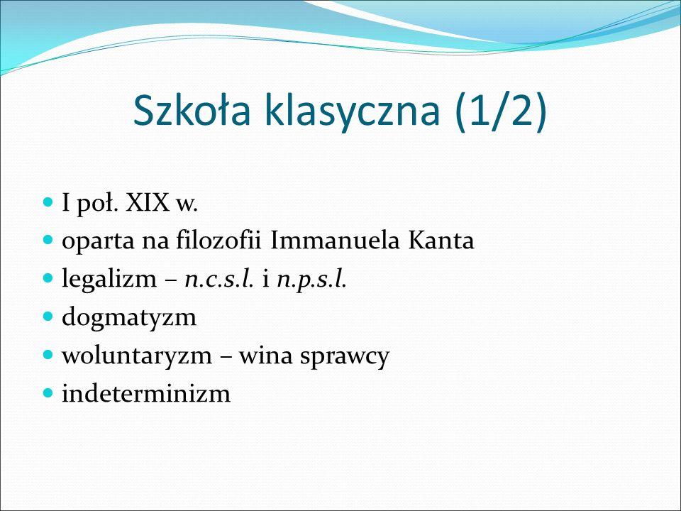 Szkoła klasyczna (1/2) I poł. XIX w.